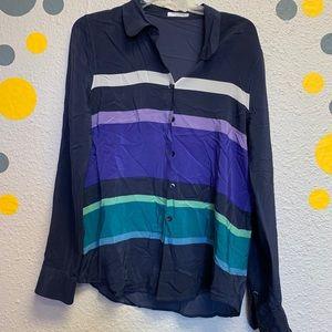 Equipment femme hundred percent silk shirt striped